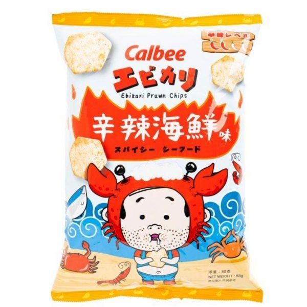 Calbee Prawn Chips – Spicy Seafood Ebikari Flavour 50g