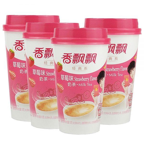 XiangPiaoPiao Strawberry Milk Tea 80g (Pack of 4 Cup)